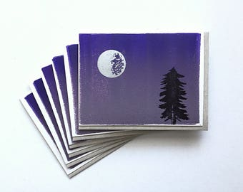 Letterpress Cards 6-Pack- Silver Moon & Purple Night Sky Ink Wash