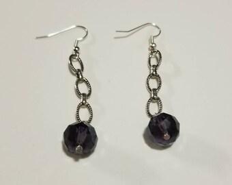 Purple and silver elegant chain drop earrings, Faceted drop earrings