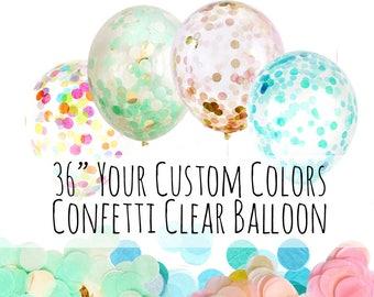 "36"" Jumbo Custom Confetti Balloon, Big Clear Balloon Filled with Custom Confetti Mix, Party Confetti, Birthday Party Supply, Wedding Supply"