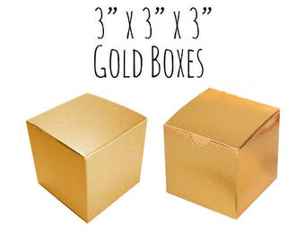 "Gold Boxes Square 3 x 3 x 3"", 25-50 Pack Wedding Favor Boxes Bulk, Gold Cupcake Box, Treat box, Candy Box, Cardboard Box, Metallic Gold"