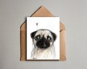 Printable Pug Card - Pet Dog Note Card Stationery - All Occassion Greeting Card - Dog Drawing - Cute Puppy Pug Card - Instant Download