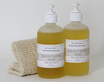Liquid Soap 8 oz, Castile Soap in frosted Glass Pump , Cleaning Soap, Natural Cleaning, All Purpose Cleaner, Shower Gel, Liquid Castile Soap