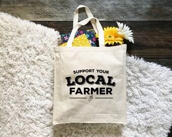 FREE SHIPPING Support your local farmer canvas tote bag, farmer's market canvas tote bag, farm life, farmhouse, farm to table, farm fresh