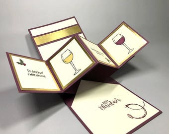 Pop Up Twist Panel Christmas Card - White White - Red Wine - Stampin' Up! Christmas Card - Half Full Wine Glass - Christmas Greeting Card