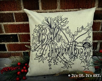 Bah Humbug - Adult Coloring Pillow COVER ONLY-Funny pillow, couch cushion, decor pillow, Christmas pillow, girl power, throw pillow