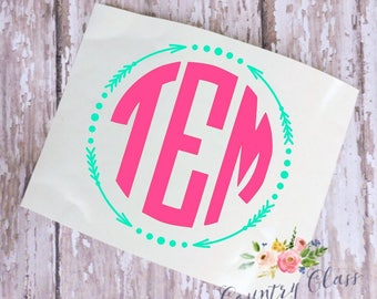 Monogram Decal || Car Decal || Laptop Decal || Yeti Decal