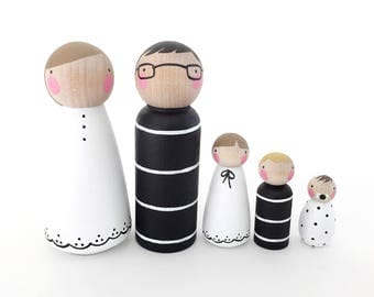 Peg doll family // The Black & White Family // doll house family // peg dolls
