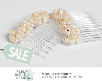 wedding hair comb set | hair comb with pearls | hair combs for wedding | apricot pearl hair comb |  apricot hair comb