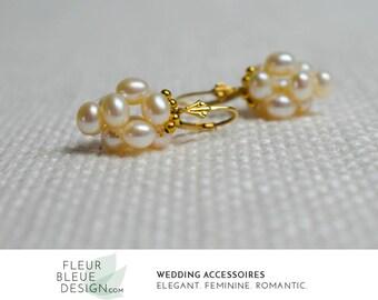 Brautschmuck ohrringe gold  Perlen ohrringe | Etsy