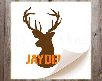 Personalized Deer Head Vinyl Decal