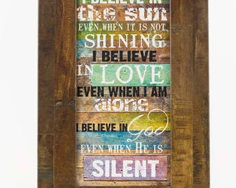 I Believe In The Sun blocking Wall Decor Framed Picture