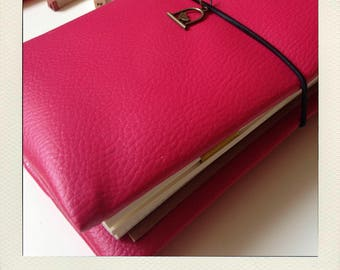 Buldori - kit Organiseur fuschia + carnets - traveler notebook - Bullet journal - fauxdori - midori - bujo