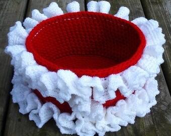 Christmas Crochet basket-crochet storage-basket-hand crochet basket-storage box-crocheted basket-crochet box-storage basket-Christmas basket