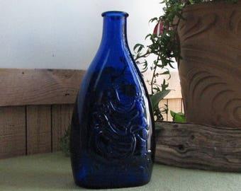 Vintage Cobalt Blue Chicken Bottle Old Holiday Jar Season Greetings 1972 Old Liquor Bottles
