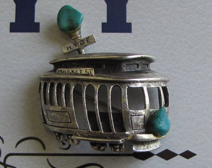 Vintage Tortolani Trolley Brooch Market and Hyde Streets San Francisco Pewter and Turquoise Lapel Pin