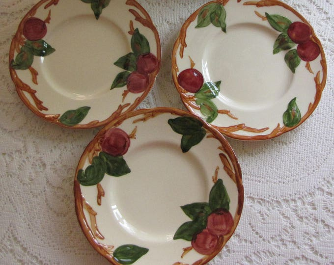 Franciscan Apple Small Plates Set of Three (3) Bread and Butter Plate Vintage Dinnerware and Replacements California Pottery