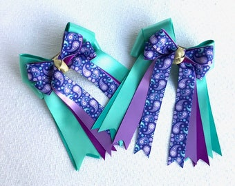 Horse Show Hair Bows/Teal & Purple Paisley/Equestrian Clothing/Ready2Mail