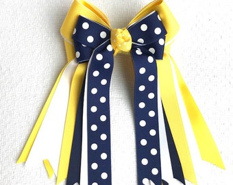 Horse Show Hair Bows/classic navy blue yellow/beautiful gift