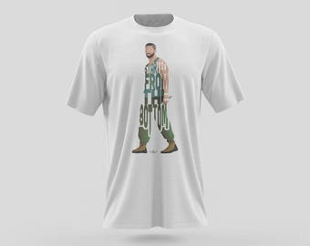 "Drake T-Shirt Typography Design of his Lyrics ""Started From The Bottom"" Green OVO of Rapper and Singer from Young Money Cash Money Records"