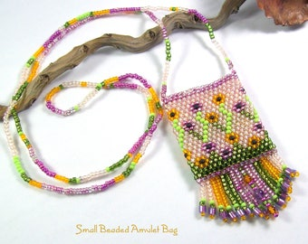 Small Beaded Amulet Pouch Necklace