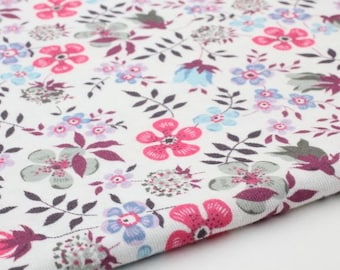 Floral Cotton Knit Fabric, Cotton Rib Stretchy Knit Fabric by Yard