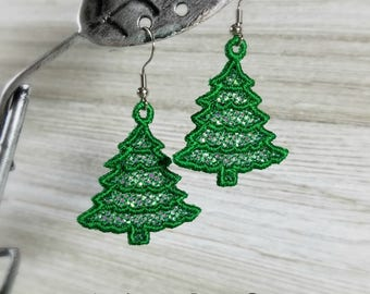 FSL Christmas Tree Earrings - Machine Embroidery File - Instant Download
