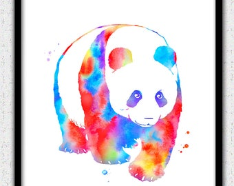 Panda art print, panda print, colorful panda art print, panda watercolor, panda silhouette, bright colors panda painting, panda poster