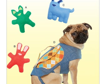 Kwik Sew-Sewing Pattern K4211 Dog Toys with Contrast Ears and Nose Appliqué, and Backpack with Handle
