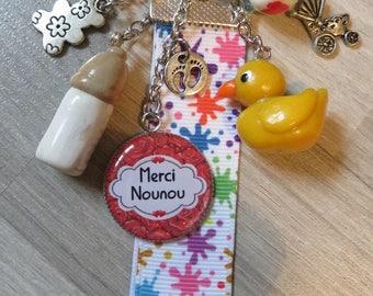 """lucky charm, keychain or purse jewelry """"nanny merci!"""""""