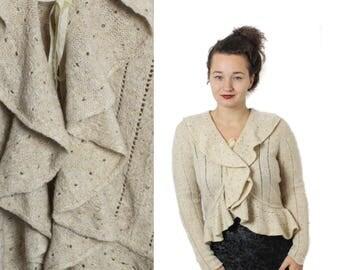 Vintage Ruffle jacket, Knit wool jacket, Knit jacket, Beige jacket, Knit winter jacket, Ruffle Victorian jacket, Wool jacket / Medium Large