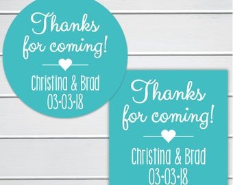 Thank You Stickers, Thank You For Coming Labels, Favor Stickers, Birthday Party Stickers (#211-SS)