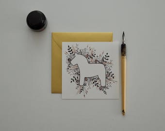 Card with Dala horse Dala horse card for message, announcements, Scandinavian, illustration, hygge, wall decor, wooden horse