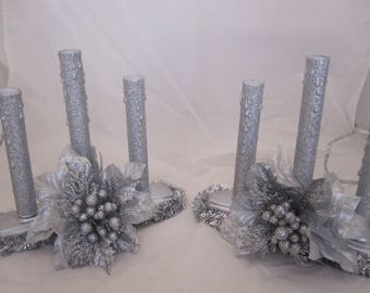 Silver Glittered Kitsch Electric Window Candle Set, Three Light electric Candles