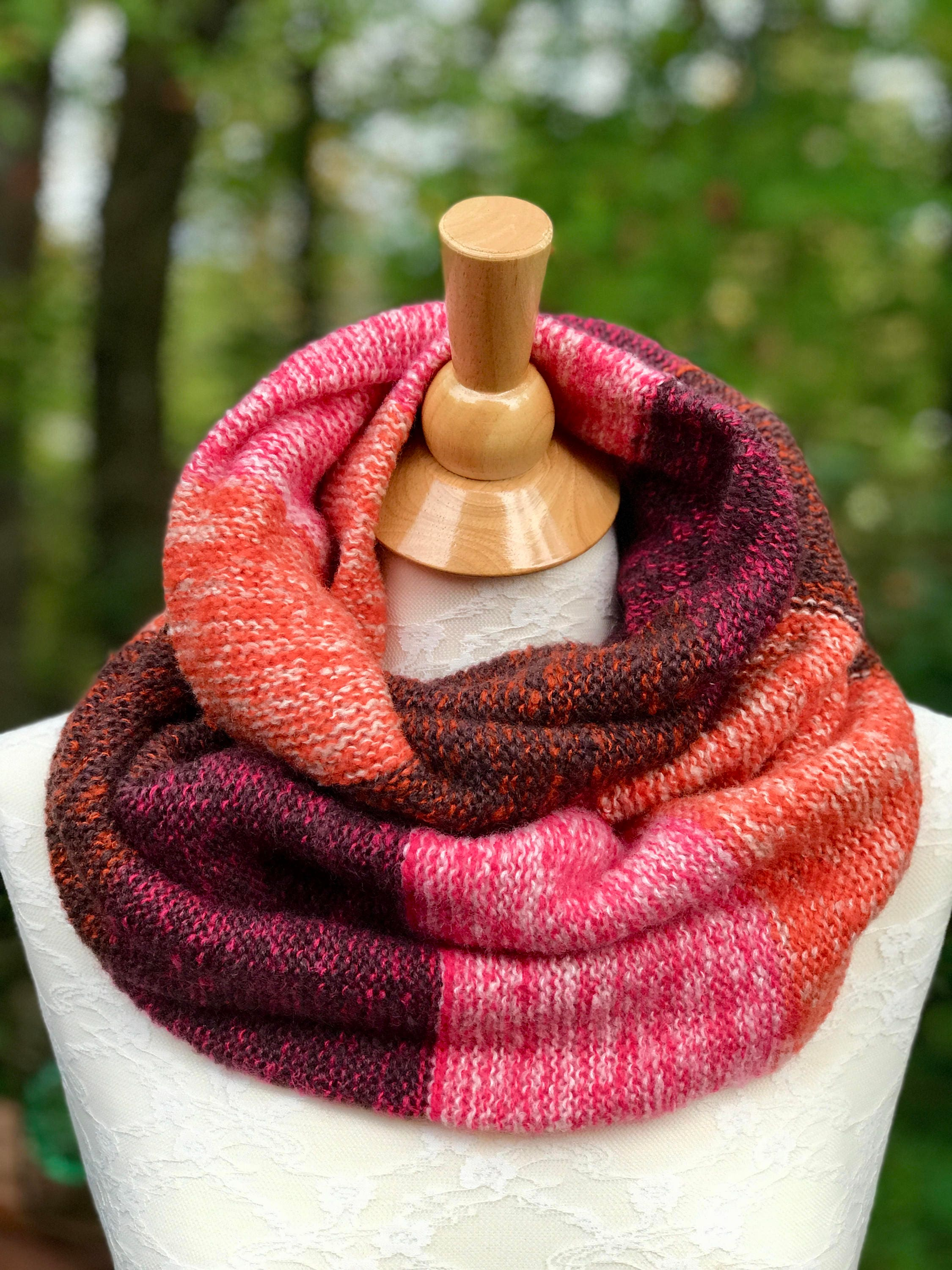 Circular cowl knitted multicolored scarf double wrap cowl zoom bankloansurffo Image collections
