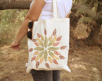 Tote bag - organic cotton - autumn leaves - handmade - eco bag