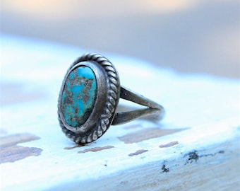Vtg Old Pawn Sterling Silver Native American Southwestern Navajo Twisted Rope Split Shank East Blue Turquoise Ring Sz 6