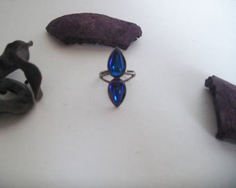 blue glass cabochon Adjustable ring