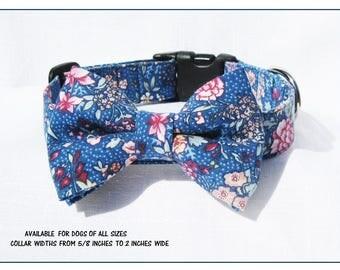 Autumn Blue Floral Bow Tie Dog Collar~Wedding Dog Collar~Dog Bow Tie Collar~Removable Bow Tie~Wedding Dog Attire~Dog Wedding~Fall Wedding~