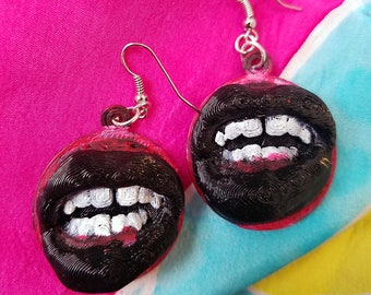 3D Printed Mouth Sculpture Dangle Earrings - Available in Hand painted black