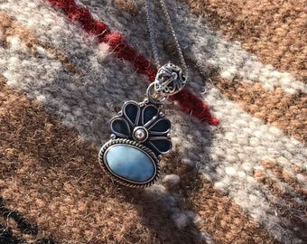 Beautiful Larimar Sterling Silver Necklace
