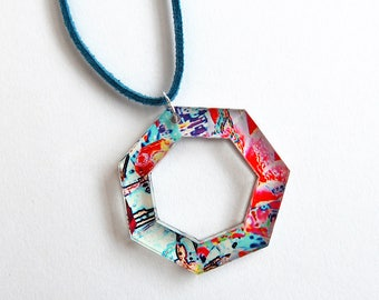 Acrylic Necklace Geometric Choker - Acrylic Choker or Necklace on Cord - Choice of Cord Colour - Statement jewellery
