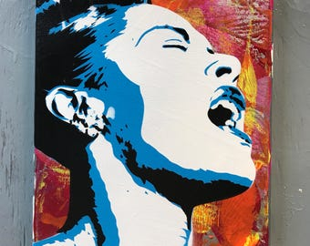 Billie Holiday Painting on Stretched Canvas - pre made and ready to ship - pictures show actual item you are purchasing.