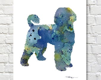 Portuguese Water Dog Art Print - Abstract Watercolor Painting - Wall Decor