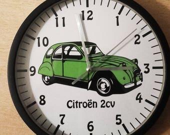 clock wall decoration car Citroën 2cv Green