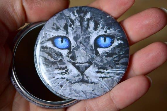 Miroir de poche chat yeux bleus animal id e cadeau for Miroir des chats