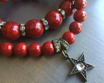 Red Bracelet Star Bracelet Gemstone bracelet Women's gift