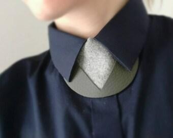 Stone gray Leather & felt shirt necklace,unique collar accessory, unisex bow tie alternative, statement necklace, bold necklace, necktie