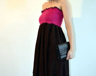 long dress brown and fuchsia