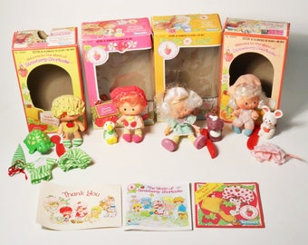 4 Vtg Strawberry Shortcake Dolls w/ Pets & Boxes - Kenner 1980s, Apple Cherry +