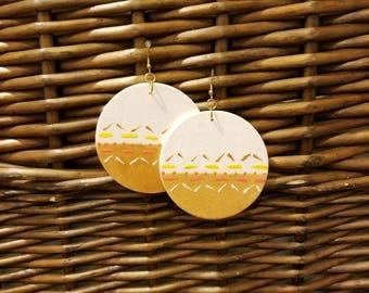 Wooden earrings, hand painted earrings, handmade earrings, handmade jewelry, tribal earrings, dangle earrings, white earrings
